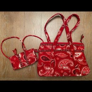 Vera Bradley Red and Black Paisley Bag & Wallet